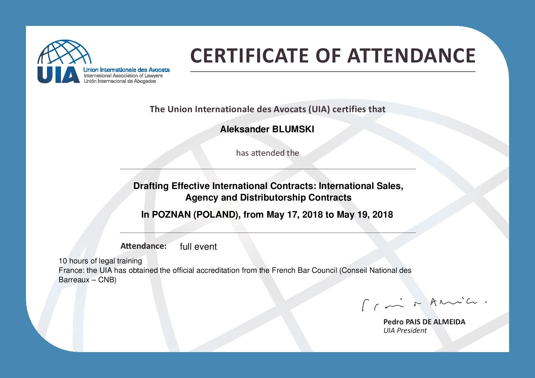 CERTIFICAT 2018 Drafting Effective International C page 001